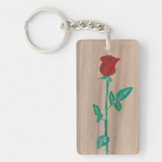 Single-Rote Rose Schlüsselanhänger