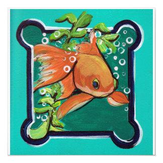 SingleGoldfish im Wasser mit Gras Quadratische 13,3 Cm Einladungskarte