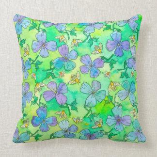 Singrün-blaue Blumen-Bienen Zierkissen
