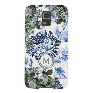 Singrün-blaues Blumengarten-Überfluss-Monogramm Samsung S5 Cover