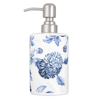 Singrün blaues u. weißes botanisches BlumenToile Badezimmer-Set