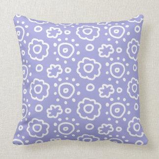 Singrün-Lavendel-weißes Blumenmuster-Kissen Kissen