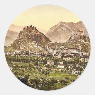 Sion, allgemeine Ansicht, Wallis, die Schweiz Runder Aufkleber