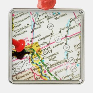 Sioux City, Iowa Silbernes Ornament