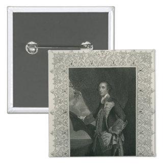 Sir George Brydges Rodney Quadratischer Button 5,1 Cm