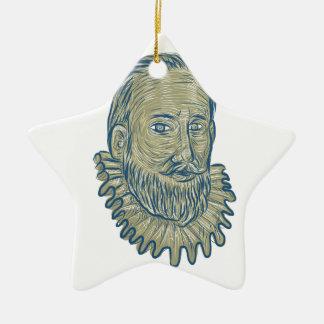 Sir Walter Raleigh Bust Drawing Keramik Stern-Ornament