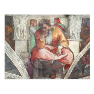 Sistine Kapellen-Decke: Der Prophet Jeremias Postkarte