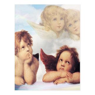Sistine Madonna 2 Engel durch RAPHAEL Postkarte