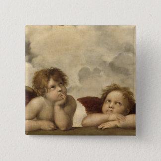 Sistine Madonna Engel durch RAPHAEL Quadratischer Button 5,1 Cm