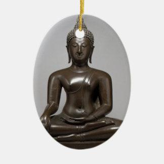 Sitzbuddha - 15. Jahrhundert Ovales Keramik Ornament