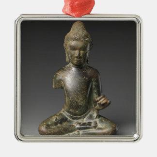 Sitzbuddha- - Pyuzeitraum Quadratisches Silberfarbenes Ornament