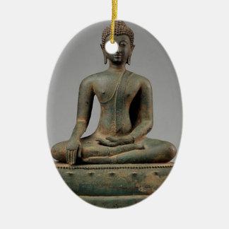 Sitzbuddha - Thailand Ovales Keramik Ornament