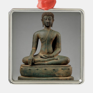 Sitzbuddha - Thailand Quadratisches Silberfarbenes Ornament