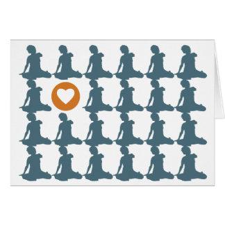 Sitzen auf Wiederholungs-Liebe-Karten Mitteilungskarte