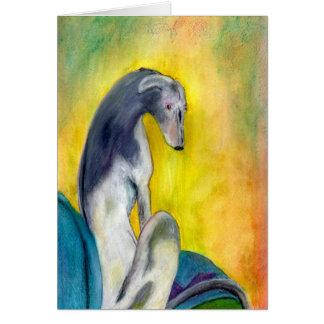 Sitzender Windhund (a394) Grußkarte
