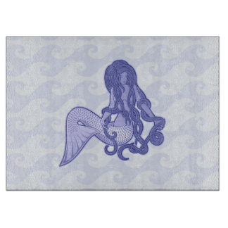 Sitzendes Meerjungfrau-Blau Schneidebrett