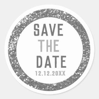 Siver Glitzer Save the Date Runder Aufkleber