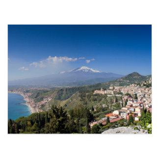 Sizilien - Taormina vor der Ätna-Postkarte Postkarte