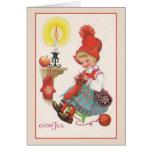 Skandinavische Weihnachtskarte Vintager Gott-Juls Karte