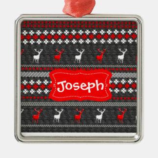 Skandinavisches Rotwild-Weihnachtsmuster Silbernes Ornament
