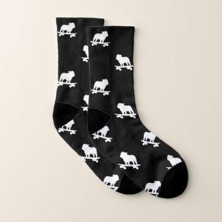 Skateboarding Bulldoggen-Silhouette-Muster Socken