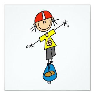 Skateboarding Strichmännchen Quadratische 13,3 Cm Einladungskarte