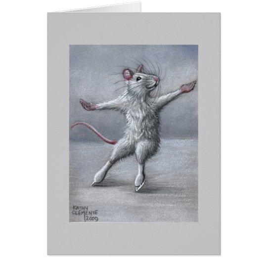 Skaten auf Eis-Ratten-Karte Grußkarte