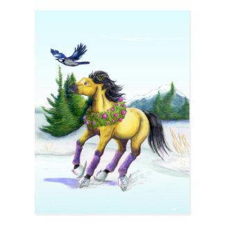 Skaten-Weihnachtspferdepostkarte Postkarte