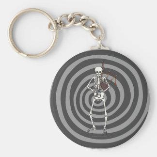 Skeleton Dudelsack-Spieler Standard Runder Schlüsselanhänger