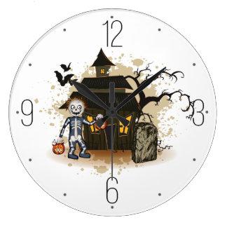 Skeleton Spuk Haus Halloweens Große Wanduhr