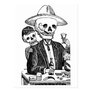 Skeleton trinkender Tequila und Rauchen, Mexiko Postkarten