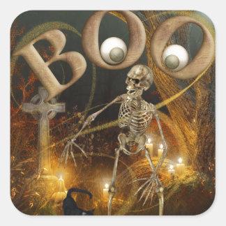 Skeleton und ernstes Halloween Quadratischer Aufkleber