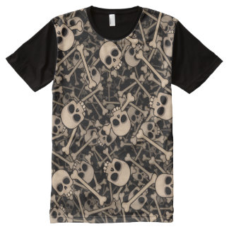 Skeletons T-Shirt Mit Komplett Bedruckbarer Vorderseite