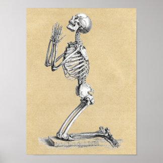 Skelett im Gebet Poster