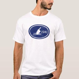 "Ski fahrender ""iSKI"" ovaler Skier-Berg T-Shirt"