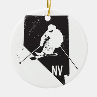 Ski Nevada Rundes Keramik Ornament