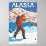 Skier-tragende Schnee-Ski-Vintage Reise 2 Poster