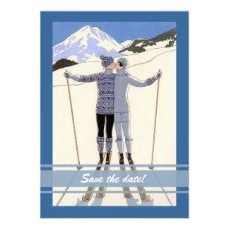 Skiers Save the Date küssen - Mitteilung des