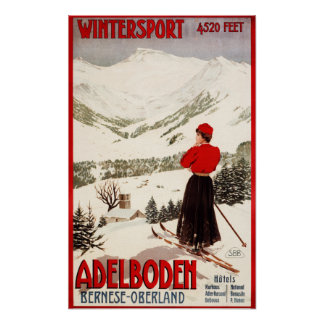 Skieur de femme donnant sur l'affiche d'Adelboden Poster