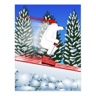 Skifahren-Eisbär Postkarte
