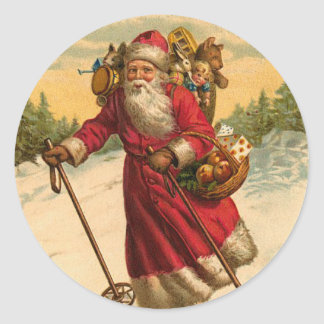 Skifahren-Sankt-Weihnachtsaufkleber Runder Aufkleber