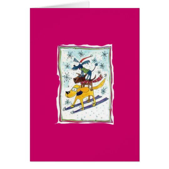 Skifahrenhunde Grußkarte