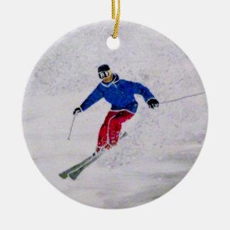 Skifahrenverzierung Rundes Keramik Ornament