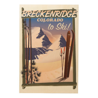 Skiplakat Breckenridges, Colorado Holzleinwand
