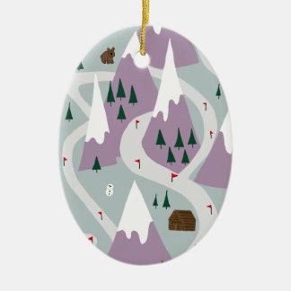 Skisteigungen Ovales Keramik Ornament