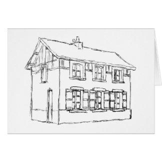 Skizze eines alten Hauses, mit Fensterläden Karte