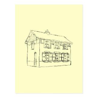Skizze eines alten Hauses, mit Fensterläden Postkarte