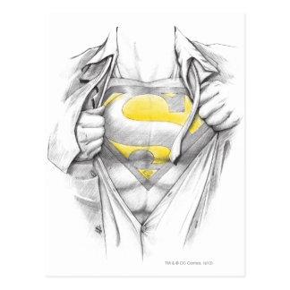 Skizziertes Kasten-Supermann-Logo Postkarten