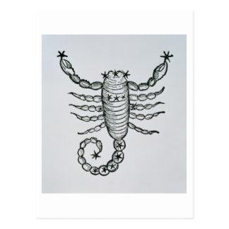 Skorpion (der Skorpion) eine Illustration vom 'P Postkarte