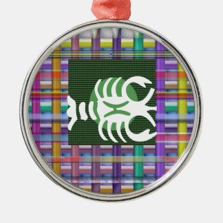 SKORPION Tierkreis-Astrologie Jyotish Symbole Rundes Silberfarbenes Ornament